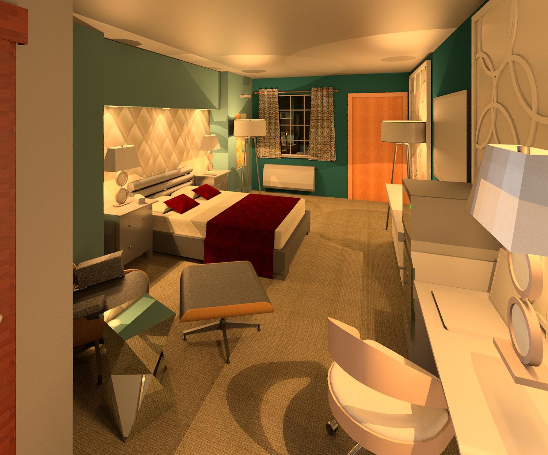 midcentury modern hotel room